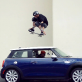 Tony Hawk Jumps Moving Mini Cooper