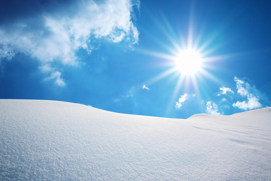 雪面 太陽照り返し