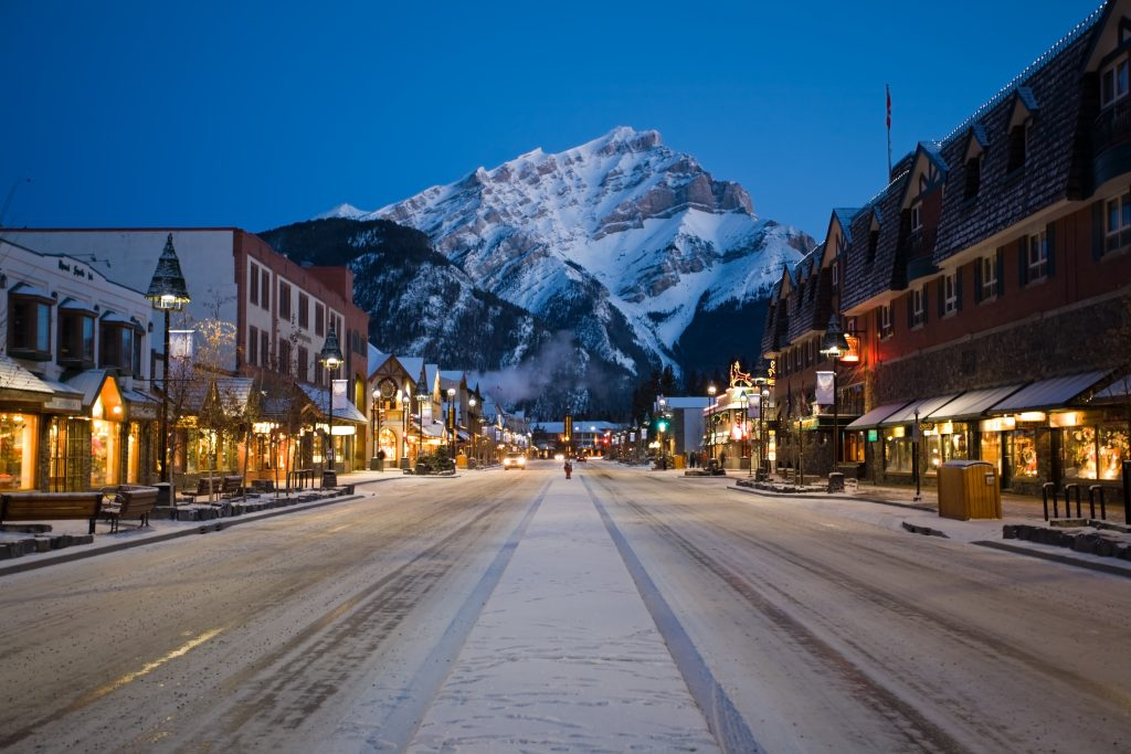 Evening view of main street of mountain town (Banff), Canadian Rockies.